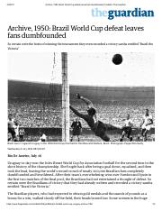 Archive, 1950_ Brazil World Cup defeat leaves fans dumbfounded _ Football _ The Guardian