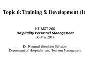 260-Topic 6 Training and Development Spring 2014 Part 1