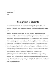 Duties - Recognition of Students