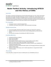 Neehr Perfect EHR Activity-Introducing HITECH and The History of EHRs v6.docx
