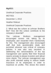 Mgt 521 unethical corporate practices lehmann brothers