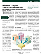 Millennium Ecosystem Assessment- Research Needs
