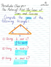 Pre-Calculus 11 Using Sine and Cosine Laws Class Notes