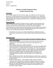 Unit 8 Assignment - Create an Incident Response Policy -DONE-