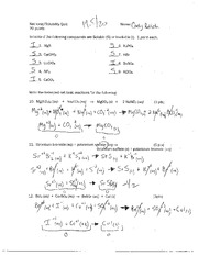 Reactions in Aqueous Solution Worksheet - Reactions in Aqueous ...
