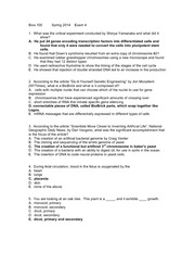 Exam 4 Bios 100 spring 2014 complete with answers revised