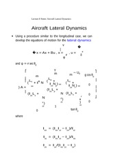 Lecture 8 Notes Aircraft Lateral Dynamics