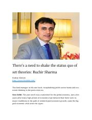 The new book of Ruchir Sharma