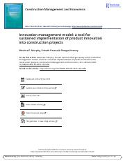 Innovation management model a tool for sustained implementation of product innovation into construct