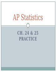 Ch. 24 and 25 Practice Problems