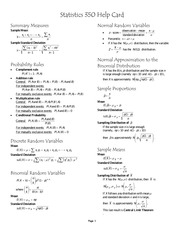 Stats 250 Final Exam Review of Formulas