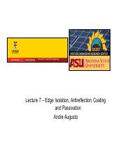Lecture 7- Edge Isolation Antireflection Coating and Passivation(1) (2).pdf
