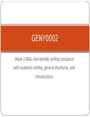 GENY0002 2016 Week 3 skills - Academic writing philosophy + structure + introductions.ppt