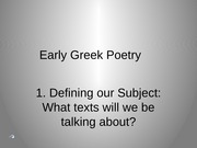 Lecture Early Greek Poetry 2015