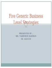 Five Generic Business Level Strategies