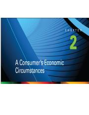 Chapter 2 -A Consumer's Economic Circumstances