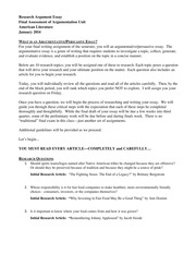 Research Argument Essay Assignment Sheet Jan 2014
