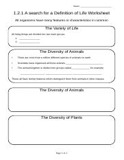 1.2.1 Search for Definition of Life Worksheet