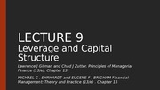 EIB 508 Principles of Finance Lecture 9 Leverage and Capital Structure