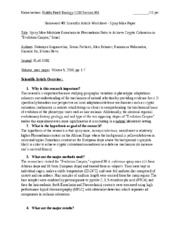 Spiny Mice Scientific Article Worksheet