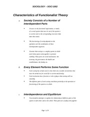 Section 2 - Characteristics of Functionalist Theory