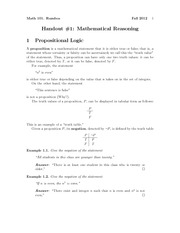 Lecture on Mathematical Reasoning