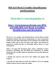 BUS 610 Week 3 Conflict Identification and Resolution.doc