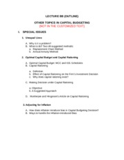 LECTURE 8B. SPECIAL ISSUES IN CAPITAL BUDGETING