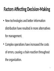Factors Affecting Decision-Making