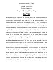 Assignment - Traditions & Change Essay.doc