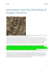 Jamestown and the founding of english america