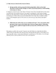 2-5-1 Activity Short Answer Intent for the Statue of ...