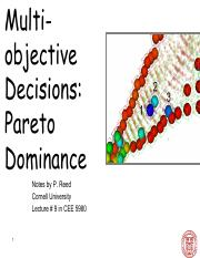 CEE 5980 Lec 9  Multiobjective Decisions Pareto Dominance (Instructor)