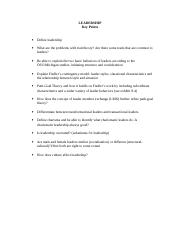 LEADERSHIP - Key Points Study Guide.doc