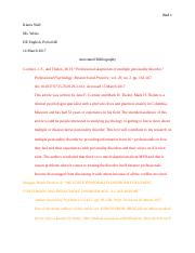 Annotated Bibliography - Kiarra Wall