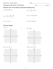 Graphing and Properties of Parabolas - Kuta Software Infinite ...
