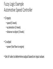 Fuzzy Logic Example Slides - Fuzzy Logic Example Automotive Speed