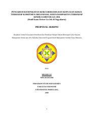 Proposal Msdm Tentang Gojek Docx Pengaruh Kesepakatan Kerja Bersama Dan Kepuasan Kerja Terhadap Komitmen Organisasi Serta Dampaknya Terhadap Kinerja Course Hero