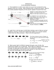 Physics 6C Ch26worksheet Solutions