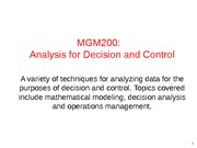 Introduction to analysis for decision and control