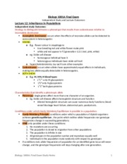 Biology 1001A Final Exam Study Notes