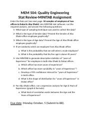 Stat Review-MINITAB assignment(1)