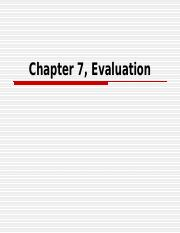 Chapter 7, Evaluation.ppt