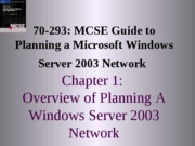 Planning A Microsoft Windows Server 2003 Network Chapter 01