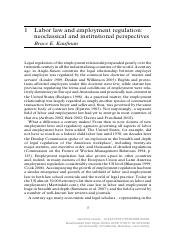 [Encyclopedia of Law and Economics] Labor law and employment regulation- neoclassical and institutio