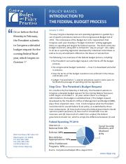 Week 3  Reading Federal budget Process