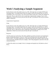 Week 5 Analyzing a Sample Argument 1.1.docx