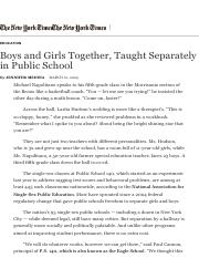 Boys and Girls Together, Taught Separately in Public School - The New York Times