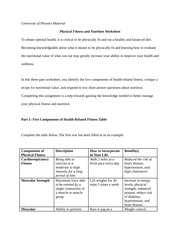 PhysicalFitnessandNutritionWorksheet