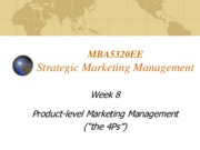Lecture 8 Product level Marketing Management for Strategic Marketing Management